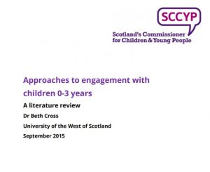 Cover of literature review on approaches to engagement with children 0-3 years