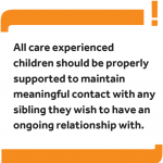 Graphic reading: 'All care experienced children should be properly supported to maintain meaningful contact with any sibling they wish to have an ongoing relationship with.'