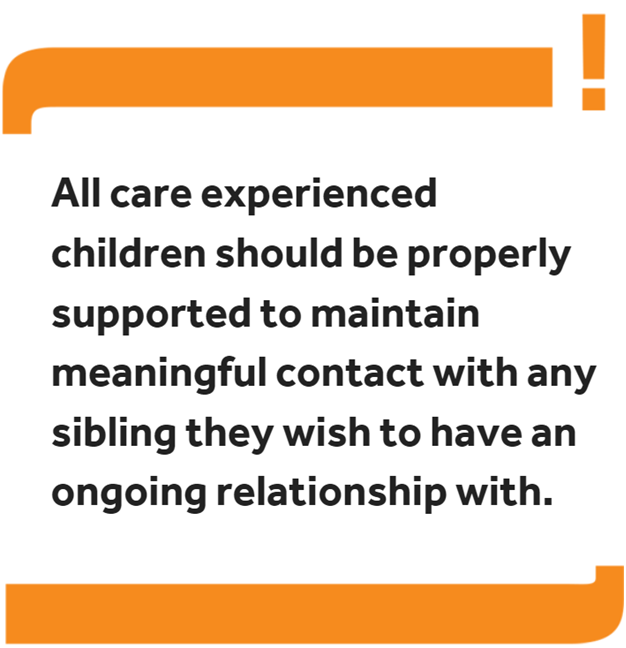Image reading: 'All care experienced children should be properly supported to maintain meaningful contact with any sibling they wish to have an ongoing relationship with.'
