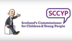 Illustated cartoon portait of previous commissioner, Tam Baillie with the old 'SCCYP' Logo