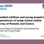 Cover of summary report on Ipsos MORI survey of parents and carers around disabled children and young people's experiences of using school toilets.