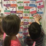 3 children pointing to and reading UNCRC Symbols cards which are stuck on a wall.