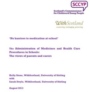 Cover page of the 'No barriers to medication at school' report.