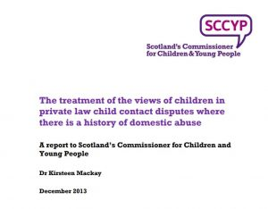 """Cover of """"The treatment of the views of children in private law child contact disputes where there is a history of domestic abuse."""""""
