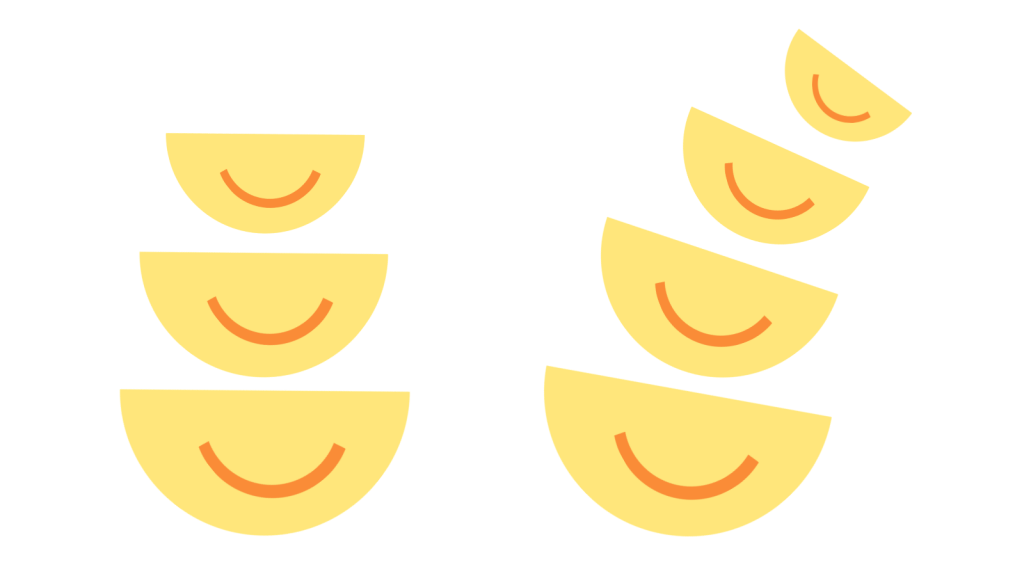 Stylised illustration of seven smiling bowls in two stacks
