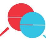 A stylised illustration of two speech bubbles, one red, one blue.