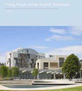 """The Cover of """"Young People and the Scottish Parliament,"""" a summary report commissioned for Scotland's Commissioner for Children and Young People."""