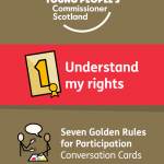 """The first of the Golden Rules Symbols Conversation Cards, reading """"understand my rights."""""""