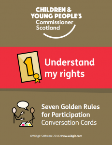 "The first of the Golden Rules Symbols Conversation Cards, reading ""understand my rights."""