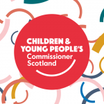 The logo of the Children and Young People's Commissioner Scotland, surrounded by colourful curves