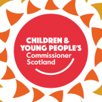 Children and Young People's Commissioner Scotland logo surrounded by shapes forming a design like a flower or sun.