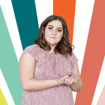 Young person with colorful shapes behind her.