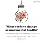 """Cartoon of a brain inside a light bulb with the caption: """"What needs to change around mental health?' Young people made 48 recommendations, including that more research should be made in the area of mental health."""""""