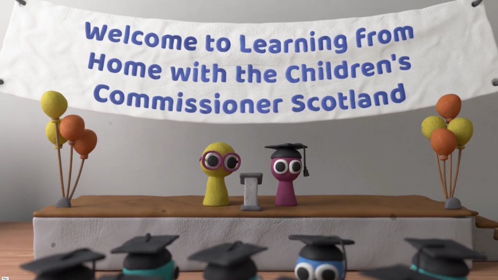 Still from video with the words: Welcome to learning from home with the Children's Commissioner Scotland
