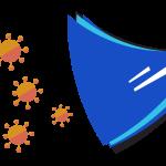 A stylised illustration of coronavirus beside a shield.