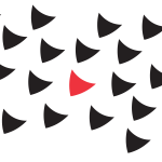 A stylised illustration of a large number of shields with a red one in the middle.