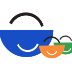 Stylised illustration of smiling shopping baskets, representing a family shopping together.