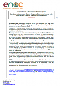 Cover of ENOC Statement on Migrant Children in Greece
