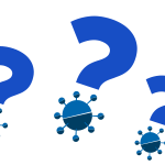 Illustration of question marks with coronavirus as the dot.