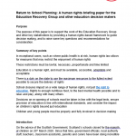 Cover of our briefing on planning the return to school.