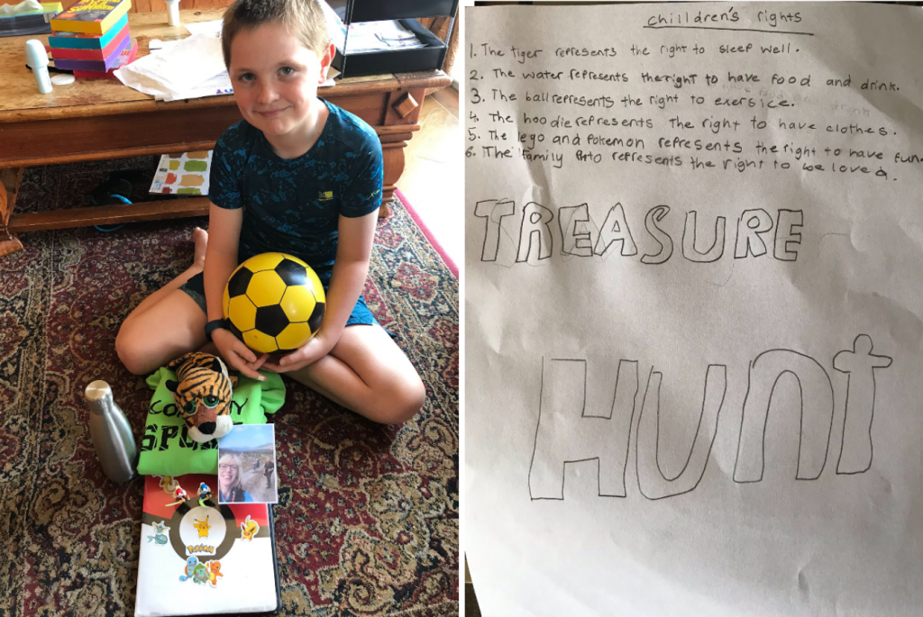An image of a young boy with his treasure chest beside his notes that explain what each item represents. His toy tiger represents sleeping well, a flask of water represents food and drink, his football represents exercise, his hoodie represents having clothes, toys represent having fun, and the photo of his family represents being loved.