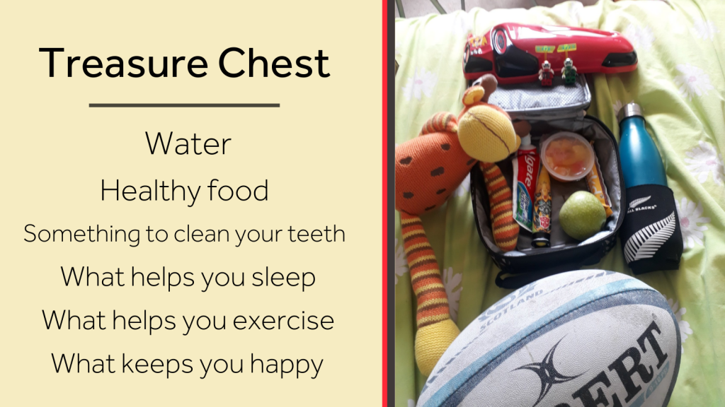"An image of an assembled ""treasure chest"": a bag with a bottle of water, healthy food, something to keep teeth clean, something to help you sleep, something to help you exercise, and something that keeps you happy."