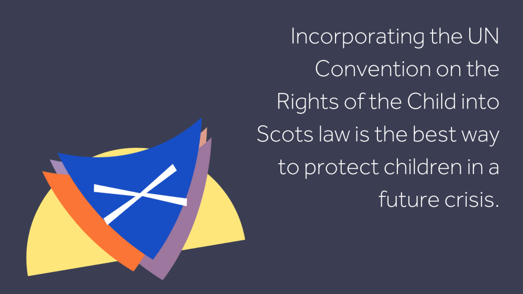 "Stylised image of a shield with the Scottish flag on it alongside the text ""Incorporating the UN Convention on the Rights of the Child into Scots law is the best way to protect children in a future crisis."""