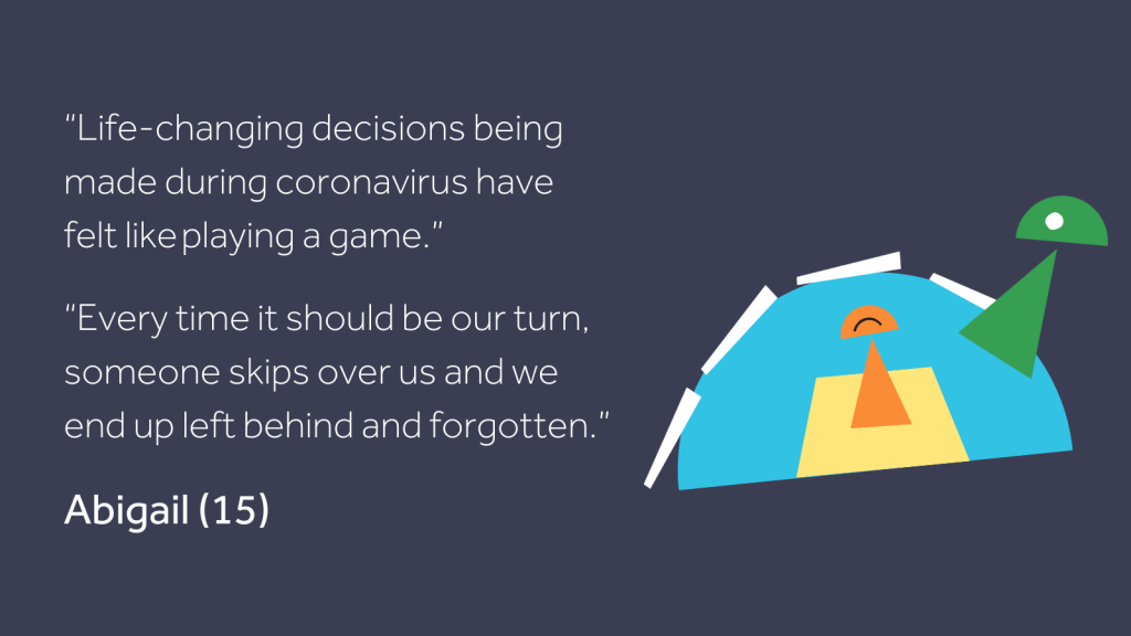 "An image of a playing piece in a game jumping over another playing piece, beside a quote from Abigail (15) that reads: ""Life-changing decisions being made during coronavirus have felt like playing a game. Every time it should be our turn, someone skips over us and we end up left behind and forgotten."""