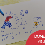 """A child's drawing of her looking sad and her parents arguing. Image has the caption """"Domestic Abuse."""""""
