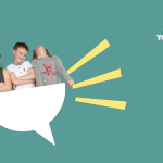 An illustration of children looking confident inside half a speech bubble, illustrating the right to a view. Our logo is at the top right of the picture.