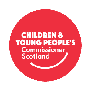 The red roundel logo of the Children and Young People's Commissioner Scotland.