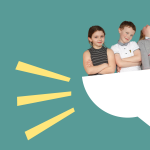 An illustration of children looking confident inside half a speech bubble, illustrating the right to a view.