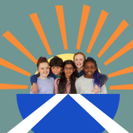 A stylised illustration containing a photo of children in front of a sun and a Scottish flag, which symbolises incorporation.