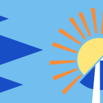 A stylised illustration of arrows going towards a semicircle with half a Scottish flag on it which contains the sun, symbolising the road towards Incorporation.