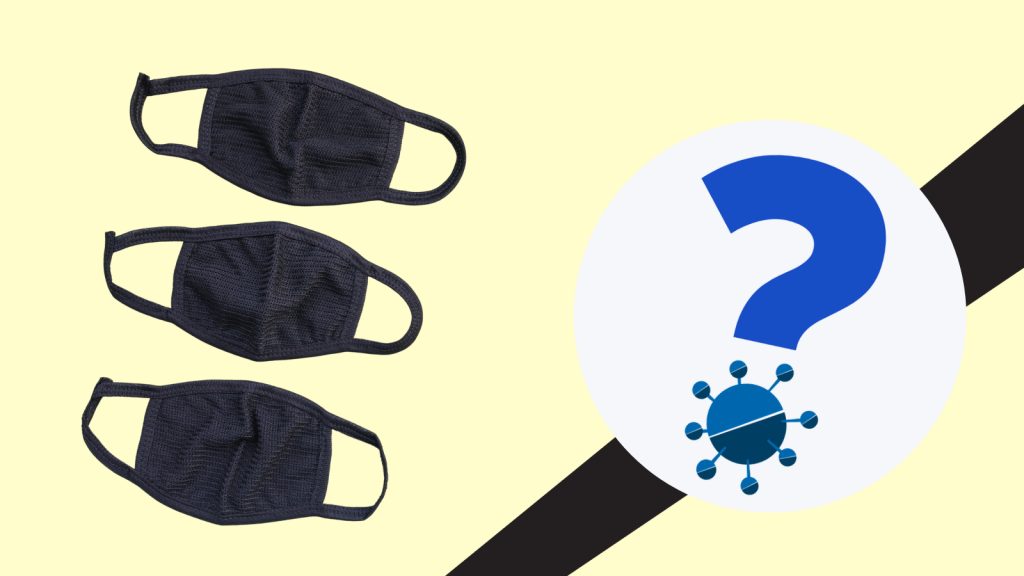 Facemasks beside a question mark with a stylised image of a virus forming the dot.