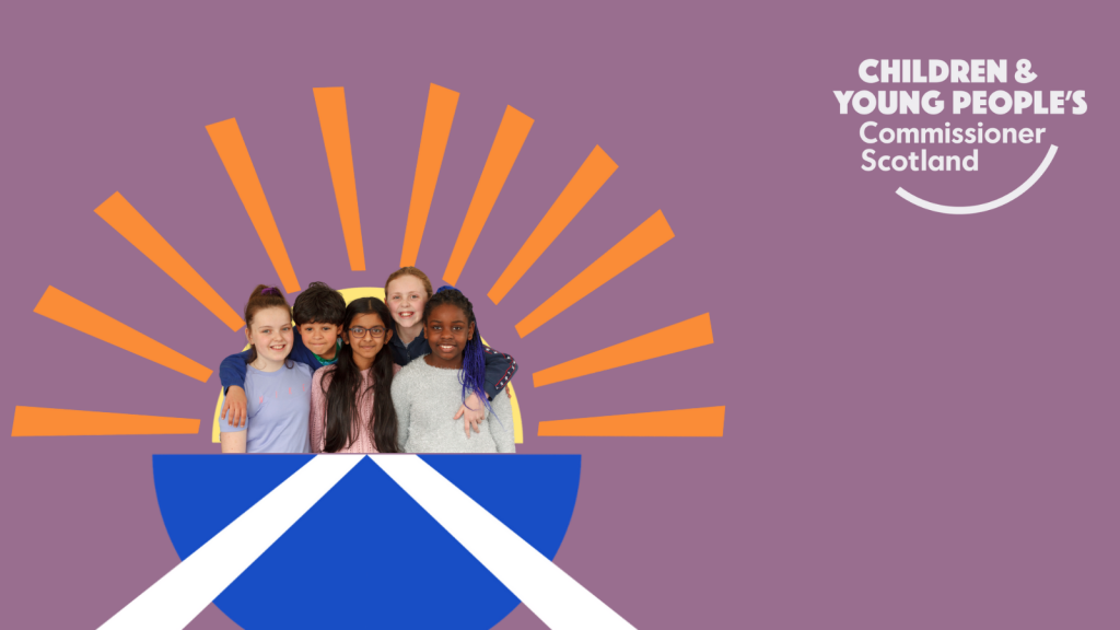 An image of children inside a semicircle with a Scottish flag on it and a sun radiating out from the top, which symbolises UNCRC Incorporation in Scotland.