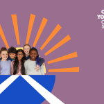 Stylised illustration with a photo of children inside a semicircle with a Scottish flag on it and a sun radiating out from the top, which symbolises UNCRC Incorporation in Scotland.