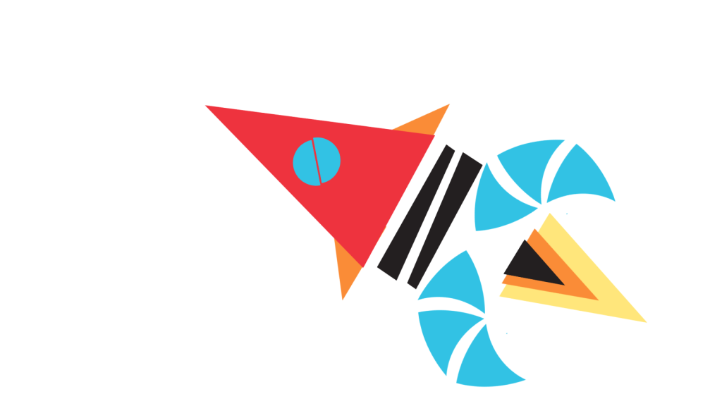 Stylised rocket with blue fins blasting through space.