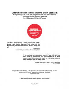 Cover for our Older Children in Conflict With the Law report.