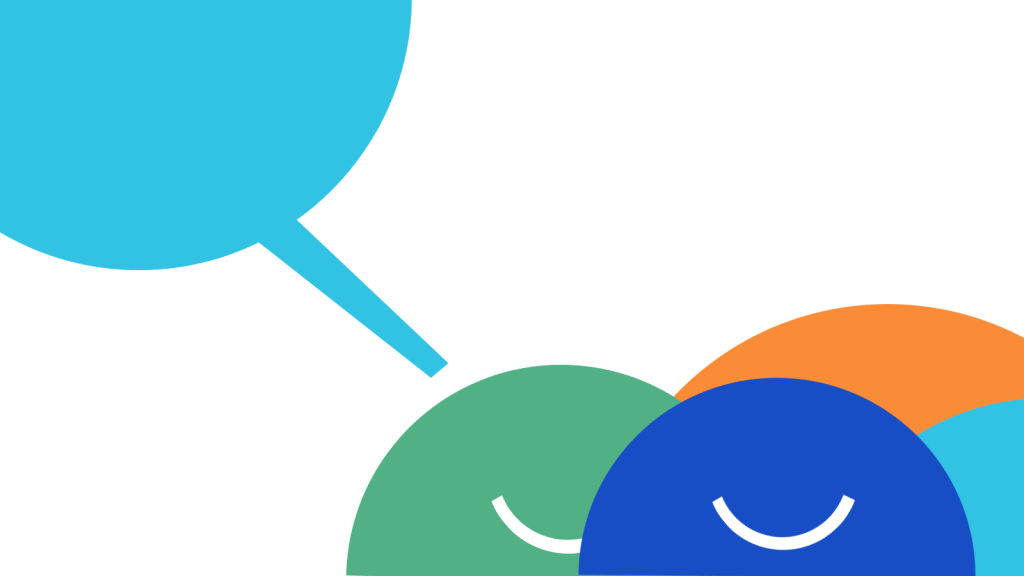 Stylised illustration of smiling people with a speech bubble above them.