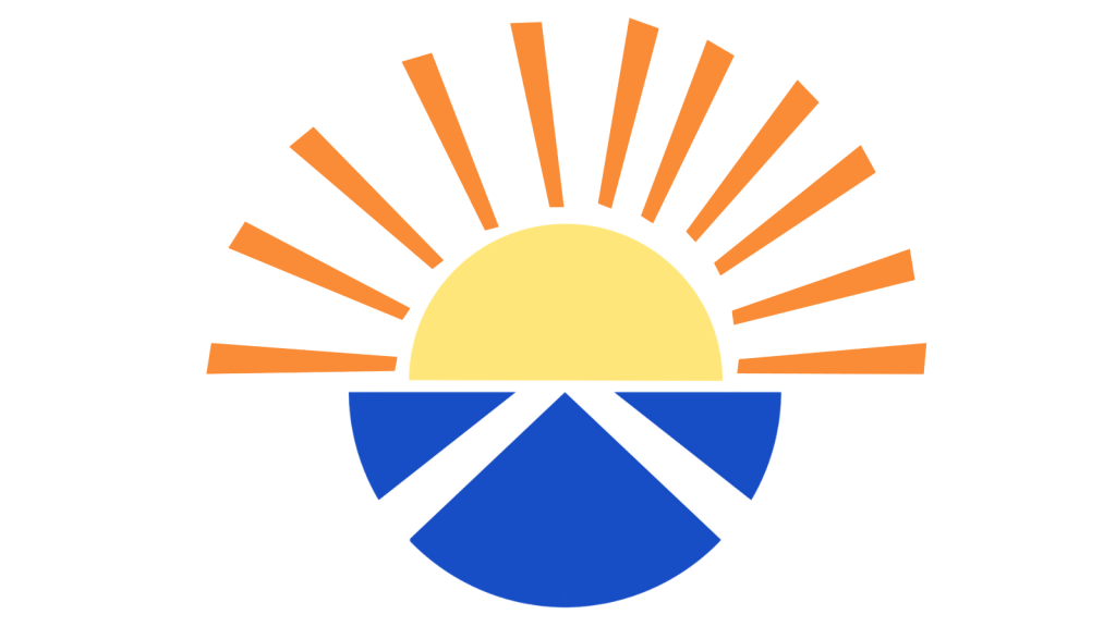 A stylised sun rises out of a blue semicircle with the Scottish flag upon it.