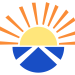 A stylised illustration of a sun emerging out of a semicircle with the saltire on it.