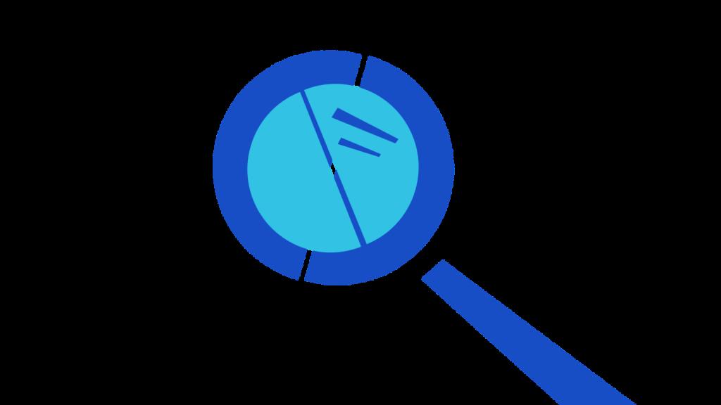 Stylised magnifying glass.