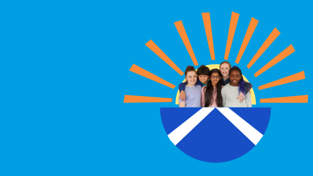 Children within a blue semicircle containing half the Scottish flag, with a sun rising from behind them.
