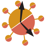 Stylised depiction of a clock which is shaped like the coronavirus.
