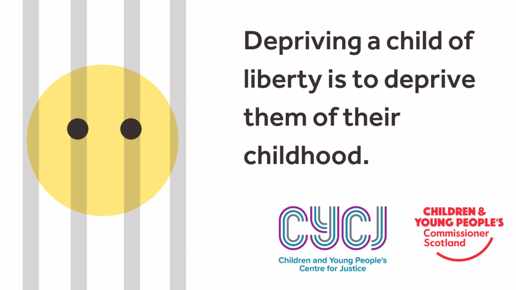 """A stylised face behind bars beside the text """"Depriving a child of liberty is to deprive them of their childhood"""" and the logos of the Children's Commissioner and the Children and Young People's Centre for Justice."""