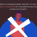 """A boy behind a cross on a blue background symbolising the Scottish flag, with the text """"The Children's Commissioners' Report to the UN shows that nearly a quarter of children in Scotland are living in poverty."""""""