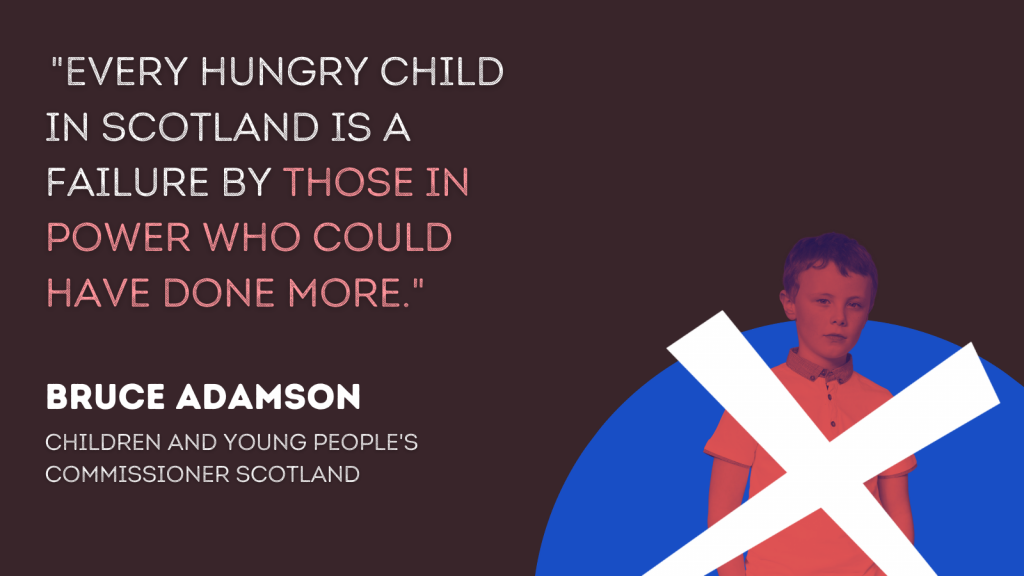 "A boy behind a cross on a blue background symbolising the Scottish flag, beside a quote from Bruce Adamson: ""Every hungry child in Scotland is a failure by those in power who could have done more."""