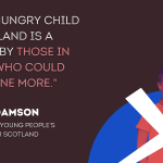"""A boy behind a cross on a blue background symbolising the Scottish flag, beside a quote from Bruce Adamson: """"Every hungry child in Scotland is a failure by those in power who could have done more."""""""
