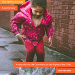 Cover of summary report of children's version of UK Commissioners' report to the UN.